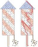 Het gemakkelijke labyrint van de vuurwerkraket stock illustratie