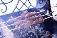 Het gemarineerde vlees roosterde op de steenkolen in de grill, kebab op vleespennen De lenteweekend, picknick stock foto