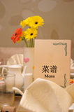 Het gemeenschappelijke plaatsen van een dinning lijst Royalty-vrije Stock Afbeeldingen