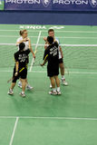 Het gemengde Badminton van Dubbelen - Eind van Spel Royalty-vrije Stock Fotografie