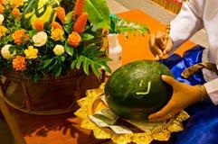 Het gemengde fruit snijden in Thaise stijl Stock Afbeelding