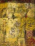 Het gemengde media abstracte schilderen met tekst en was Stock Afbeelding