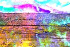 Het gemengde media kunstwerk, vat kleurrijke artistieke geschilderde laag in roze, blauw, groen kleurenpalet op samen grunge hout royalty-vrije stock fotografie