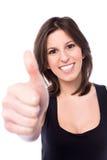 Het gemotiveerde vrouw geven duimen omhoog royalty-vrije stock fotografie