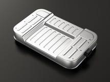 Het generische pak van de elektrisch voertuigbatterij op grijze achtergrond Royalty-vrije Stock Foto's