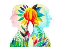 Het genie, chakramacht, bloeit samen bloemen abstracte gedachte stock illustratie