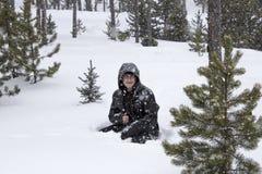 Het genieten van de van Sneeuw stock foto