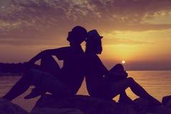 Het genieten van de van Zonsondergang Stock Foto
