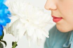 Het genieten van van geur van witte chrysant royalty-vrije stock foto
