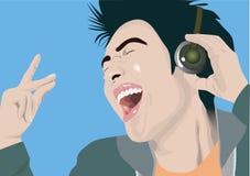 Het genieten van van muziek stock illustratie