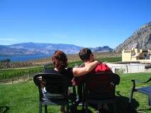 Het genieten van van onze wijn Royalty-vrije Stock Fotografie