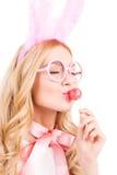 Het genieten van van zoete lolly royalty-vrije stock foto
