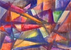 Het geometrische abstracte schilderen Multicolored stralen royalty-vrije illustratie