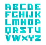 Het geometrische alfabet van de vormen blauwe doopvont Brieven van de bekledings de transparante stijl De gemakkelijke capaciteit Royalty-vrije Stock Foto's