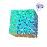 Het geometrische cijfer van de kubus wordt samengesteld uit segmenten in de Voronoi-stijl Illustratie 3D Illustratie Royalty-vrije Stock Foto's