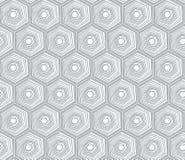Het geometrische naadloze het herhalen patroon met hexagon vormen in getrokken pastelkleur en hand stippelt textuur royalty-vrije illustratie
