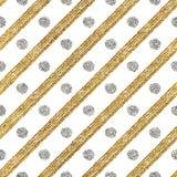 Het geometrische naadloze patroon van gouden schittert en verzilvert diagonale slagencirkel Stock Afbeeldingen