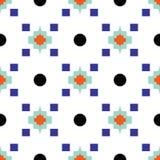 Het geometrische oostelijke patroon van de motief blauwe en witte naadloze tegel royalty-vrije illustratie