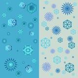 Het geometrische patroon van de sneeuwvlokkenwinter met diverse dalende sneeuwvlokken Naadloze vectortextuur Harmonische kleurenc Royalty-vrije Stock Foto's