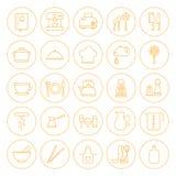 Het Geplaatste Keukengerei van de lijncirkel en Kokende Pictogrammen Royalty-vrije Stock Afbeeldingen