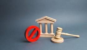 Het gerechtsgebouw met de hamer van de rechter en ondertekent nr concept censuur en de productie van beperkingen en wetten op bep royalty-vrije stock afbeeldingen