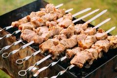 Het geroosterde gemarineerde van het de barbecuevlees van de Kaukasus vlees die van het de kebabvarkensvlees shashlik op metaalvl Stock Afbeeldingen