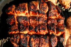 Het geroosterde lendestuk van het de stijlvarkensvlees van het land Stock Foto's