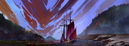 Het geschilderde landschap van de kleurenavond met zeilboot Stock Foto