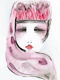 Hand getrokken portretillustratie van modieuze vrouw Stock Afbeelding