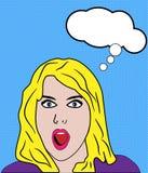 Het geschokte Retro Pop-art van de Vrouw Stock Afbeeldingen