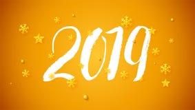 het geschreven van letters voorzien van 2019 hand en gouden Kerstmisspeelgoed Ontwerp van Gelukkige Nieuwjaarskaart met kalligraf vector illustratie