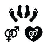Het geslacht van het paar, dat liefdepictogrammen geplaatst maakt vector illustratie