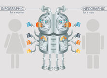 Het geslachtsstatistiek van het robot infographic ontwerp, eps10 Stock Fotografie