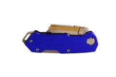 Het gesloten Blauwe geanodiseerde mes van het contractantenscheermes royalty-vrije stock afbeelding