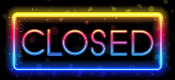 Het gesloten Teken van het Neon Stock Afbeeldingen