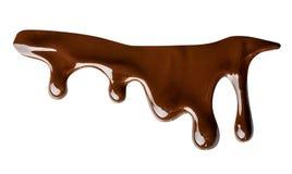Het gesmolten chocolade druipen geïsoleerd op witte achtergrond clipping royalty-vrije stock afbeelding
