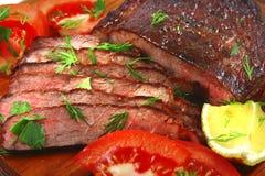Het gesneden vlees van het braadstuk bbq Stock Foto