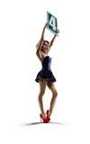 Het geïsoleerde boksringsmeisje houdt aantal 4 Stock Afbeelding