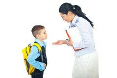 Het gesprek van de moeder en van de zoon voor school royalty-vrije stock afbeeldingen