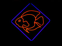 Het Gestalte gegeven Teken van het neon Vissen Stock Afbeelding