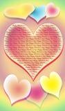 Het gestileerde beeld van zeven harten op een multi-coloured achtergrond Royalty-vrije Stock Foto's