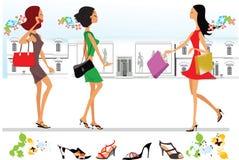 Het gestileerde dame winkelen vector illustratie