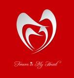 Het gestileerde hart van de valentijnskaart Dag Stock Foto