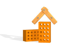 Het gestileerde huis van twee 3d bakstenen vector illustratie