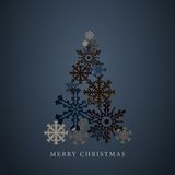 Het gestileerde silhouet van de sneeuwvlokkenkerstboom Gelukkig nieuw jaar 2015 groetenkaart Vector Stock Fotografie