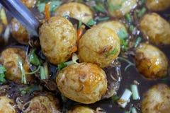 Het gestoofde ei Thaise voedsel koken royalty-vrije stock fotografie