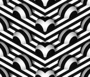 Het gestreepte 3D Vector Naadloze Patroon van Hemisfeerheuvels Stock Foto's