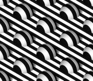 Het gestreepte 3D Vector Naadloze Patroon van Hemisfeerheuvels Royalty-vrije Stock Afbeeldingen