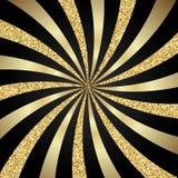 Het gestreepte goud als achtergrond en schittert stock illustratie