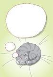 Het gestreepte kat slaap en dromen Stock Illustratie